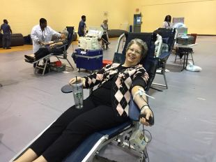 Ms. Rogers gives blood! Photo Credit: Mrs. Murchison