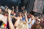 Anna Bulbrook, violinist for The Airborne Toxic Event, crowd surfing