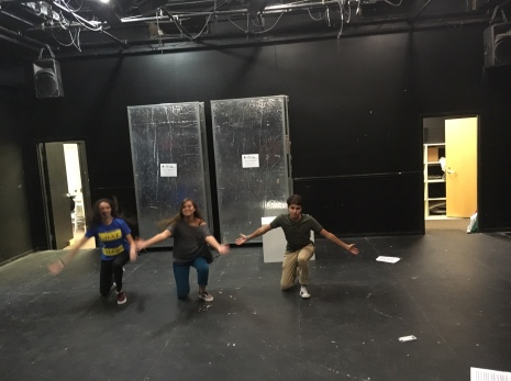 Madelyn Charles, Dylan Alfi, and Katrina Horowitz practice their dance before their audition