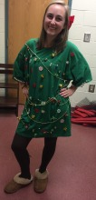 Junior Ala Shaw shows her spirit as a Christmas tree.